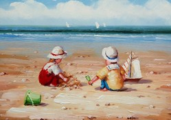 Picture of Seaside - Children with Bucket and Spade - O084