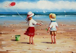 Picture of Seaside - Children with a Kite - O083
