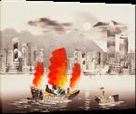 Picture of Landscapes - Hong Kong Harbour & Junk Boat - O032