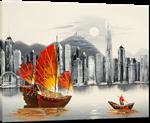 Picture of Landscapes - Hong Kong Harbour & Junk Boat - O033